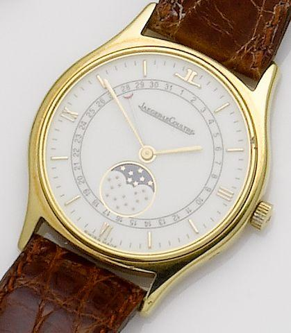 Jaeger LeCoultre. An 18ct gold quartz calendar wristwatch with moonphasesJaeger LeCoultre, 1990's