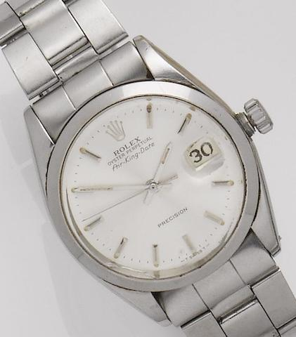 Rolex. A stainless steel automatic calendar bracelet watch Airking, Ref: 5700, Serial No. 1379602, 1980's
