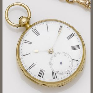 John Jameson. An early 19th century 18ct open face pocket watch London hallmark for 1837