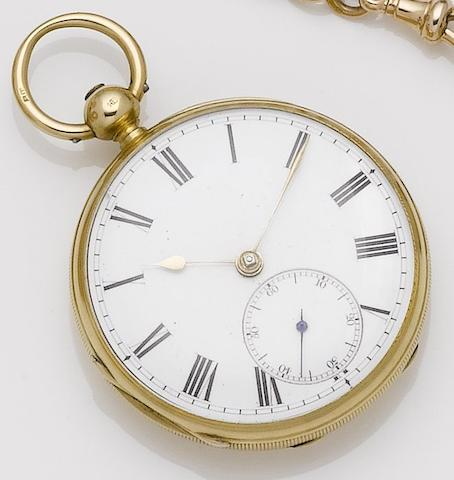 John Jameson. An early 19th century 18ct gold open face pocket watchLondon hallmark for 1837