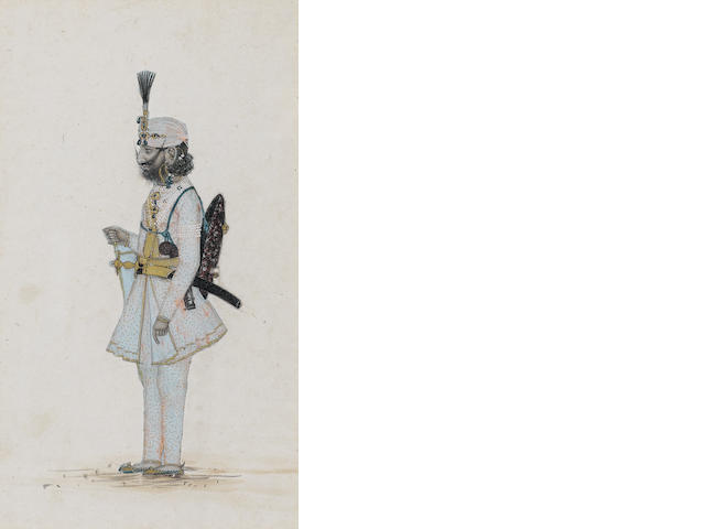 Five watercolour sketches of Hill people Punjab, mid-19th Century(5)
