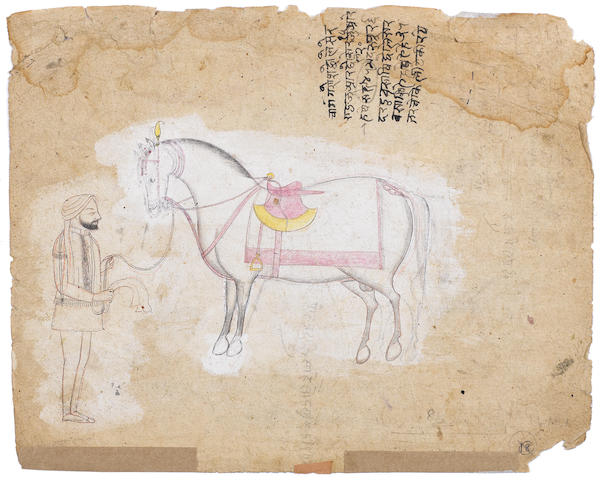 A Sikh groom with a horse Punjab, circa 1840