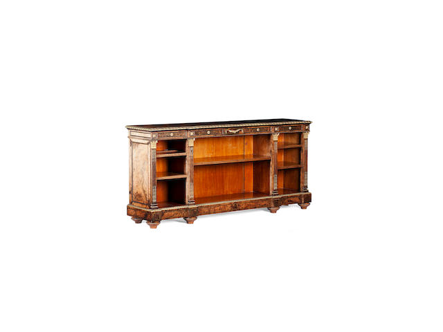 A Victorian  burr walnut and ormolu mounted open bookcase