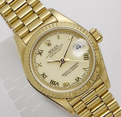 Rolex. An 18ct calendar lady's automatic bracelet watch Datejust, Ref:69178, Case No.E390940, Movement No.1610225, Circa 1990