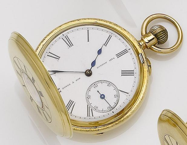 Donne & Son. An 18ct gold half hunter keyless wind pocket watchNumber 1534, London hallmark for 1886