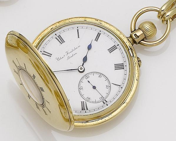 Charles Frodsham. A mid 19th century 18ct gold half hunter pocket watchMovement Numbered 08596, London hallmark rubbed