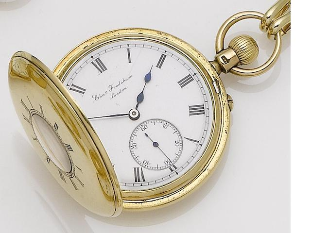 Charles Frodsham. A mid 19th century 18ct gold half hunter pocket watch Movement Numbered 08596, London hallmark rubbed