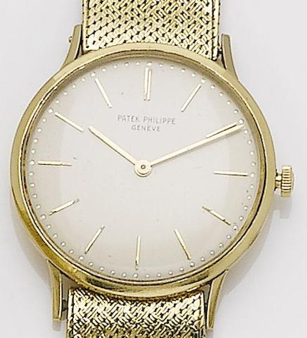 Patek Philippe. An 18ct gold manual wind bracelet watchRef:3484, Case No.2645333, Movement No.1140468