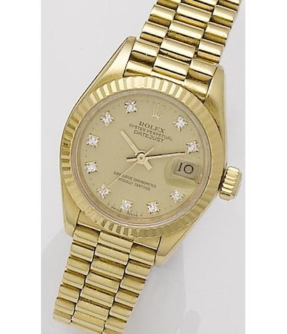 Rolex. A lady's 18ct gold automatic bracelet watch Oyster, Ref: 16753, Serial No. 9430862,