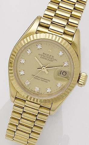 Rolex. A lady's 18ct gold automatic bracelet watchOyster, Ref:16753, Serial No.9430862, Sold 4th of June 1988