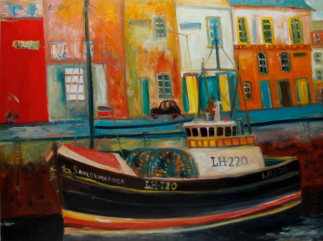 John Bellany, CBE RA HRSA LLD(Lon) (British, born 1942) Fishing boat in a harbour