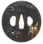 A large iron tsuba Sekijoken School. 19th century