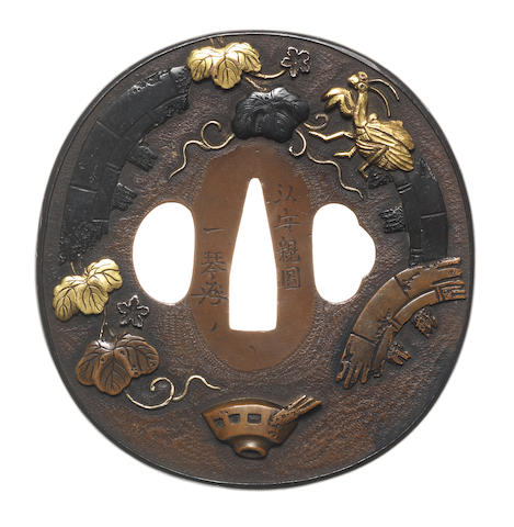 A large copper tsuba Attributed to Funada Ikkin, after Tsuchiya Yasuchika, 19th century
