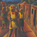 Gerard Sekoto (South African, 1913-1993) Raw Light, Lemba, oil