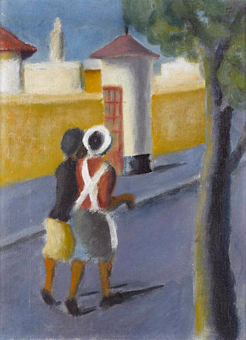 Gerard Sekoto (South African, 1913-1993) Women in the suburbs, oil