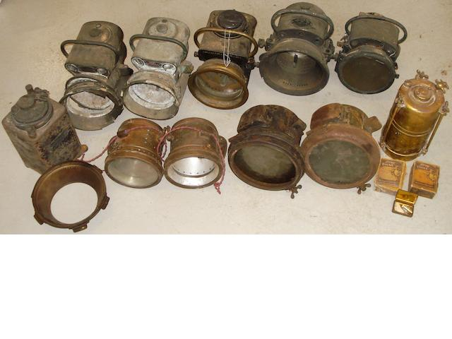 Assorted acetylene headlamps for restoration