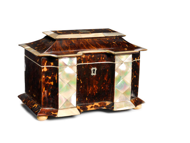 An early Victorian tortoiseshell and mother of pearl Tea Caddy