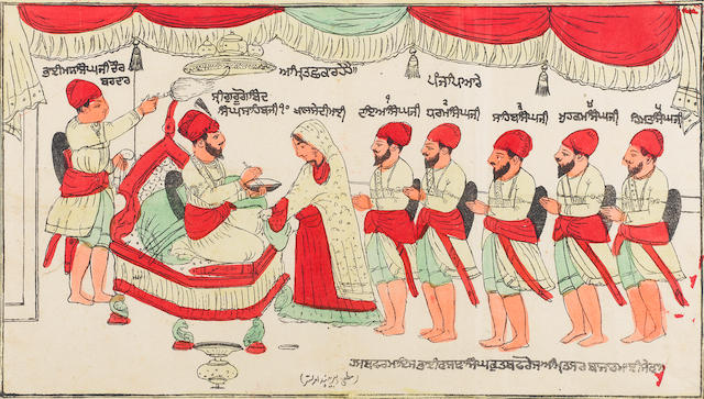 An unusual hand-coloured woodcut depicting the Sikh Guru Govind Singh sprinkling five of his followers with amrit Punjab, circa 1870