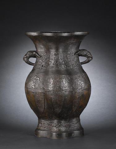 A large bronze quadrilobed vase Ming Dynasty