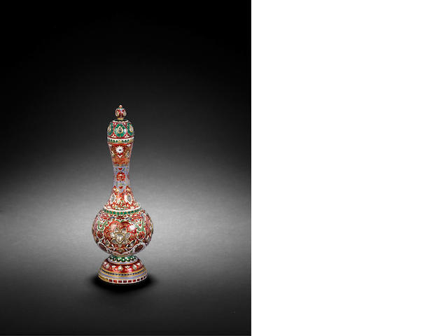 A enamelled lidded flask late 19th century