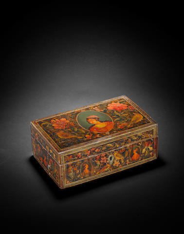 A Qajar lacquered papier mache Box Persia, 19th Century
