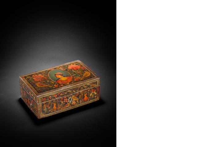 A Qajar lacquered papier mache Box Persia, 19th Century