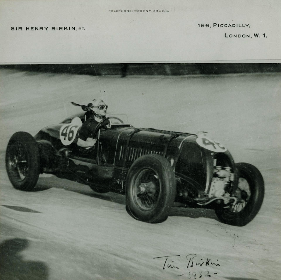 The Ex-Sir Henry 'Tim' Birkin, Hon. Dorothy Paget-owned, Brooklands Outer Circuit Lap Record Breaking The Ex-Sir Henry 'Tim' Birkin, Hon. Dorothy Paget-owned, Brooklands Outer Circuit Lap Record Breaking,1929-31 4½-Litre Supercharged 'Blower' Bentley Single-Seater  Chassis no. HB 3402 Engine no. SM 3901