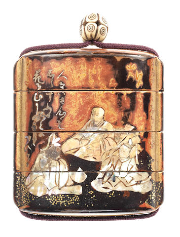An early lacquer three-case inro Attributed to Hon'ami Koetsu (1558-1637), 17th century