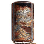 A four-case inro with a flowering cherry tree in metal inlay and takamakie on a rubbed ground Momoyama Period