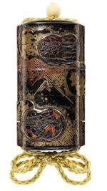 An unusual early lacquer four-case inro 17th century
