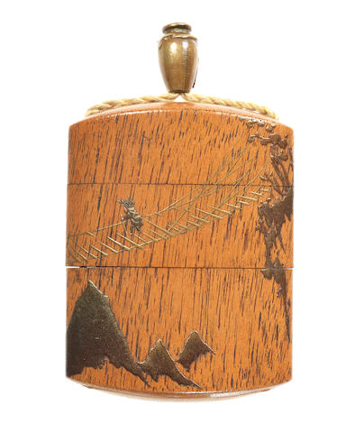 A wood two-case inro By Kanshosai Toyo, 19th century