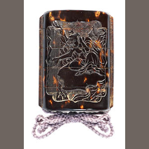 A four-case tortoiseshell inro carved with Kioyu and Sofu 18th century