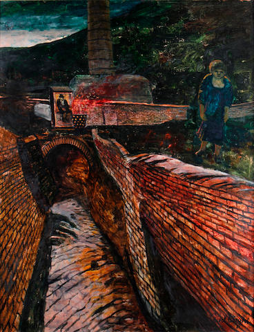 Carel Weight R.A. (British, 1908-1997) Down by the canal at night