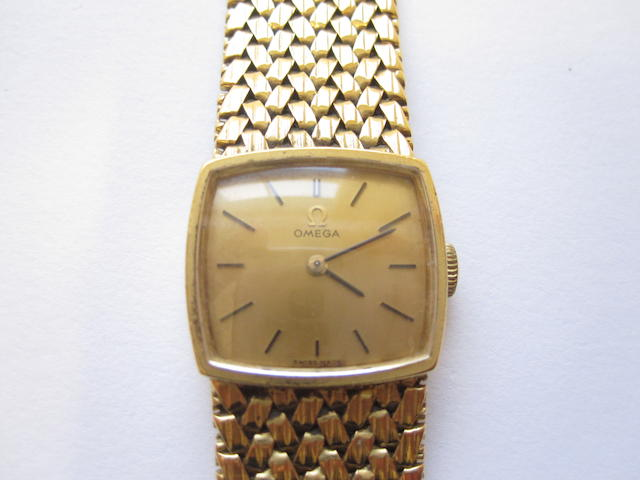 A lady's 18ct gold wristwatch, by Omega,