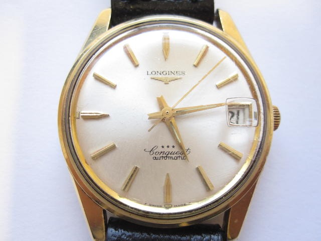 A gentleman's automatic 'Conquest' wristwatch, by Longines