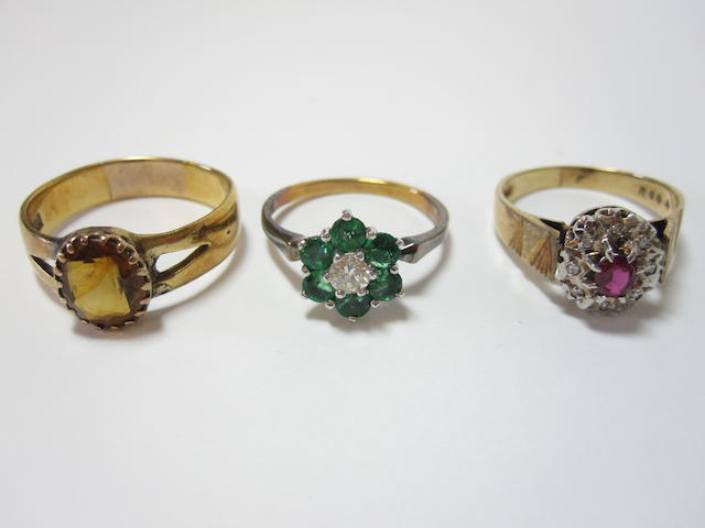 A collection of three gem-set rings