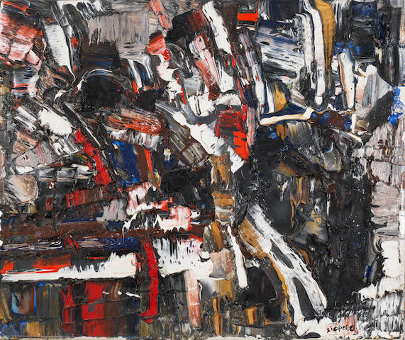 Jean-Paul Riopelle (1923-2002) Granité 1956  signed oil on canvas  45 by 55 cm. 17 11/16 by 21 5/8 in.  This work was executed in 1956.