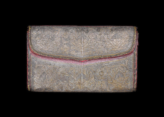 An Ottoman gold and silver thread leather Wallet in the name of John Barker, Constantinople with original note Turkey,  1750