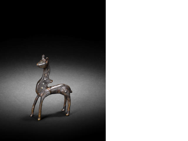 A silver inlaid engraved bronze animal Umayyad/Fatimid
