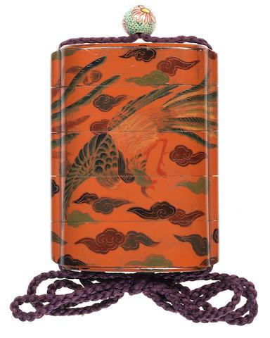 A Johana-nuri lacquer four-case inro 19th century