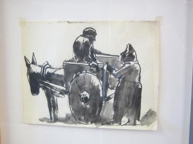 Josef Herman R.A. (British, 1911-2000) The Donkey Cart