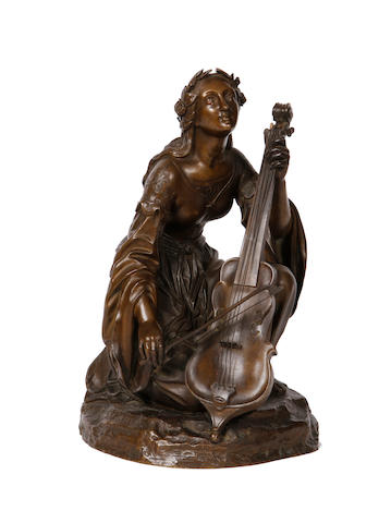 Theodore Gechter, French (1796-1844) A bronze figure of a maiden playing a cello