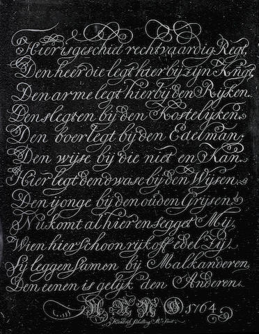 An important diamond engraved calligraphic panel by Hendrik Scholting, dated 1764