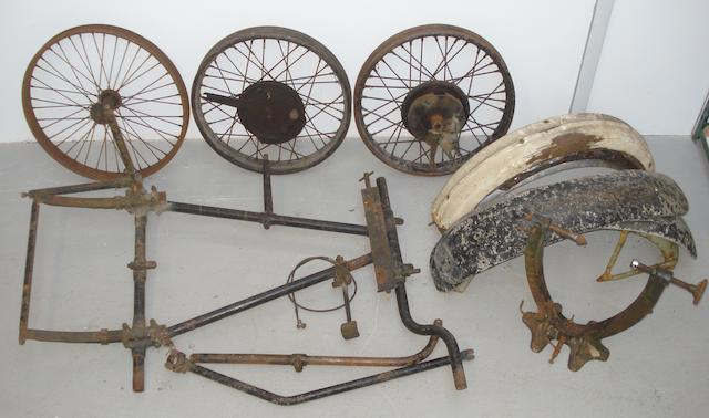 A unidentified motorcycle sidecar chassis,