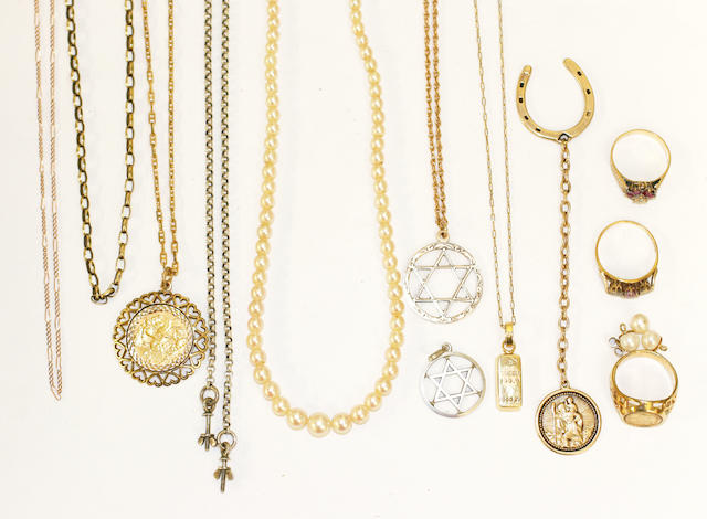 A collection of chains and other jewellery