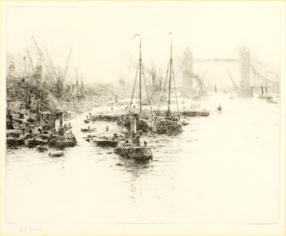 William Lionel Wyllie (British, 1851-1931) Dutch eel schuits moored upstream of Tower Bridge signed in pencil etching 20 x 25cm (pl).