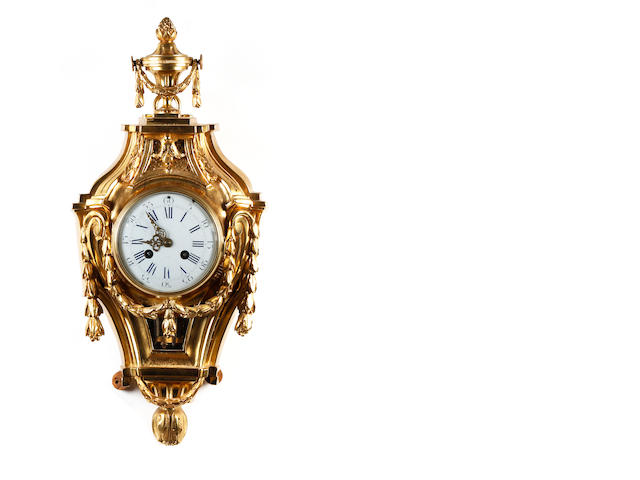 A late 18th century French gilt-bronze cartel wall clock Michelant Laligant, Paris