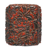 An early lacquer carved small four-case inro  17th century