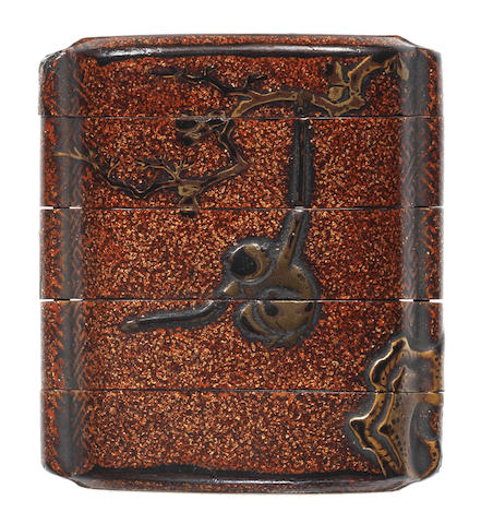 An early lacquer small four-case inro 17th century