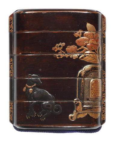 An early black lacquer four-case inro  17th century